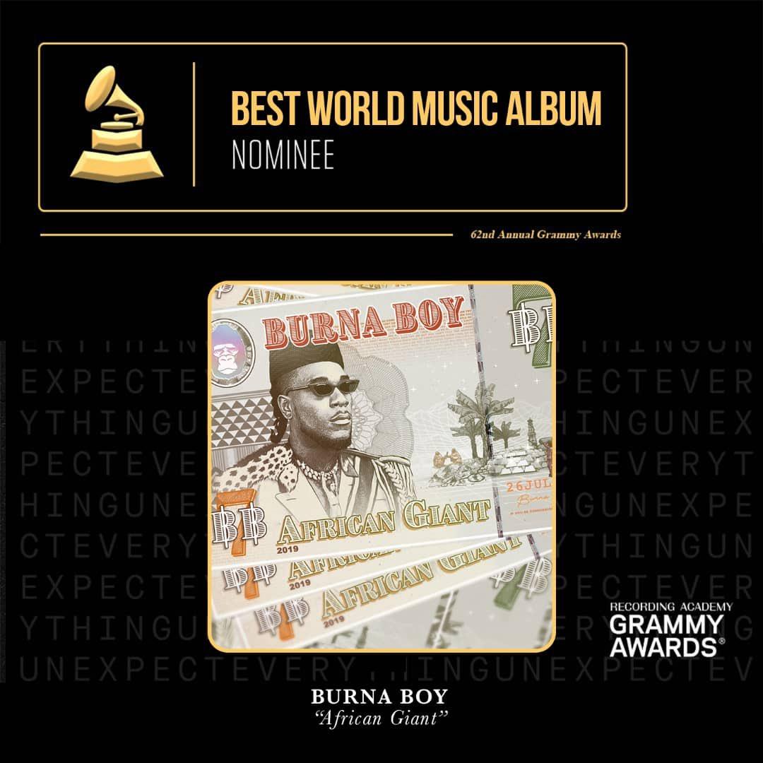 Burna Boy Grammy Awards Nominee