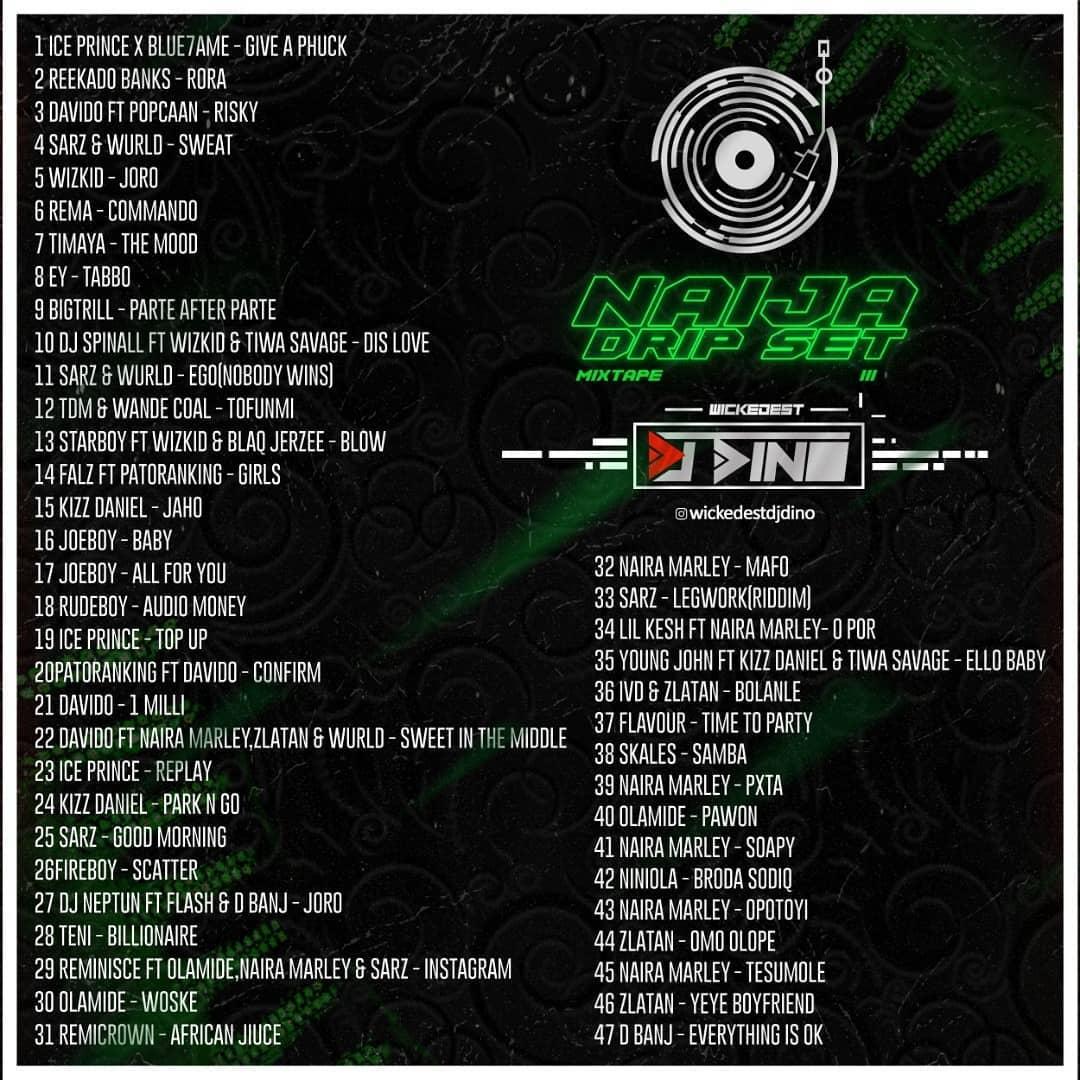 DJ Dino Naija Drip Set Mixtape Vol. III Tracklist