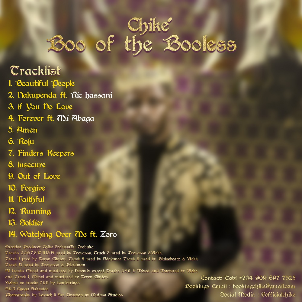 Chike Boo of the Booless Album Tracklist